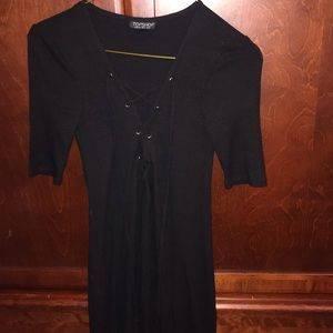 Topshop Lace up Black Ribbed Dress